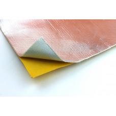 Alu Gewebe Hitzeschutz Matte selbst klebend 20x20cm 1mm 800°C Fiberglas Platte