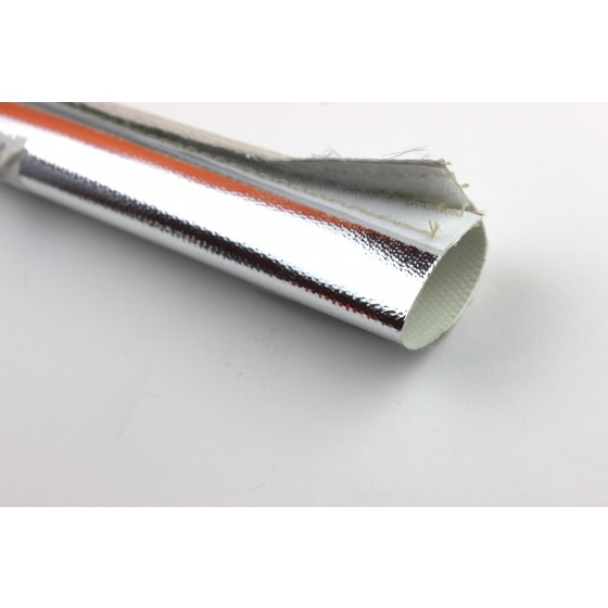 1m Alu Gewebe Hitzeschutz Schlauch 50mm Klettverschluss 800°C Fiberglas Heat Sleeve