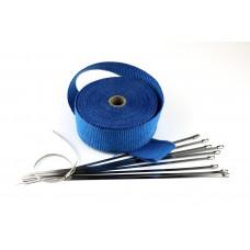 10m Hitzeschutz band Auspuff Krümmer + 10 Edelstahl Kabelbinder Heat Wrap -Blau