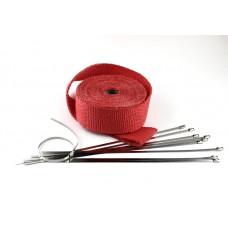 15m Hitzeschutz band Auspuff Krümmer + 10 Edelstahl Kabelbinder Heat Wrap-Rot