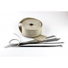 10m Hitzeschutz band Auspuff Krümmer + 10 Edelstahl Kabelbinder Heat Wrap -Beige