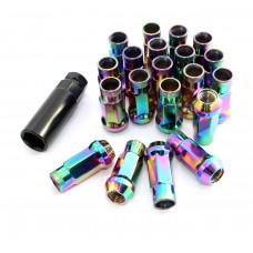 Steel Lug Nuts Stahl Radmuttern NEO-CHROM M12x1.25 Nissan, Subaru, Suzuki,etc. JDM